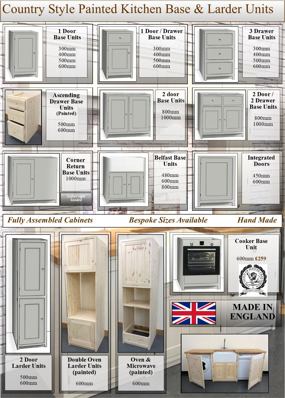 & Country Style Painted 1 Glazed Door Wall Kitchen Cabinet 600mm